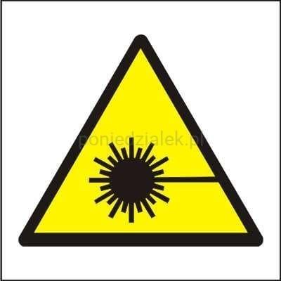 Klasa lasera podana jest na żółtej naklejce, znajdującej się na każdym laserze